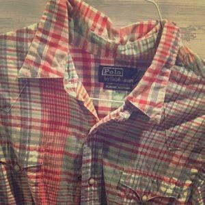 Polo RL madras-style plaid long-sleeve shirt